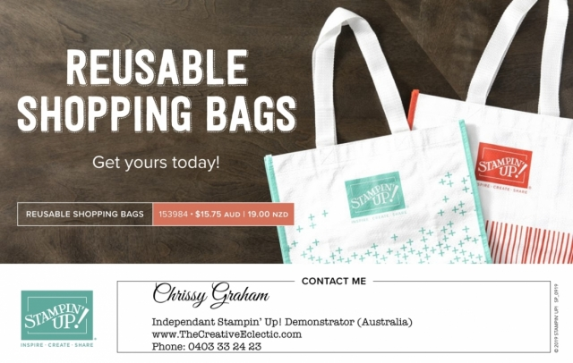 Reusable Stampin' Up! Shopping Bags available now! Imagine carryign your groceries and craft supplies in these cute Calypso Coral and Coastal Cabana totes