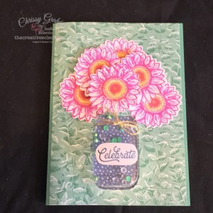 Shake it up with this Celebrate Sunflowers Shaker Card #shakercard #handmadecard #celebrateSunflowers #masonjar #stampinup